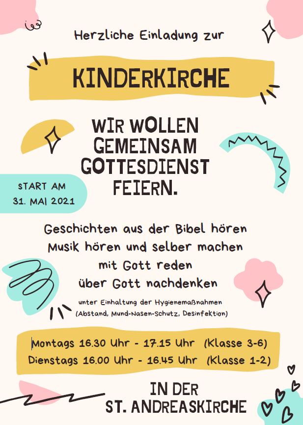 Einladung Kinderkirche ab 31. Mai